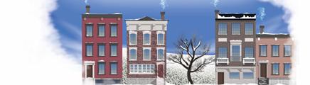 冬天的建筑物和一棵树